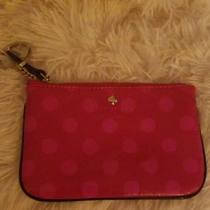 Kate Spade red and pink coin purse with key fob